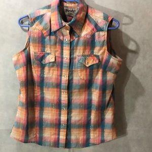 Plaid sleeveless western shirt